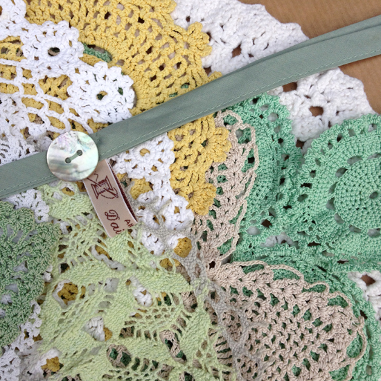 Daisies Blue Fern and Primrose Doily Bunting
