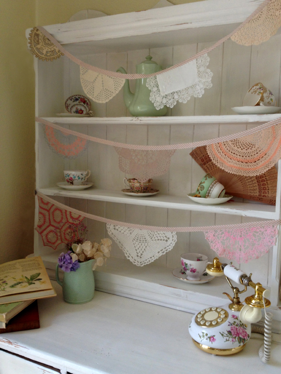Daisies Blue Vintage Doily Bunting Old Dresser