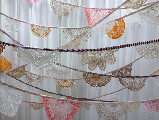 Daisies Blue Vintage Doily Bunting Shadows