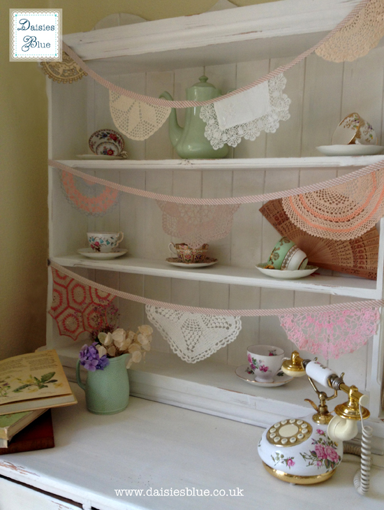 Daisies Blue Vintage Crochet Doily Bunting Dresser Copyright