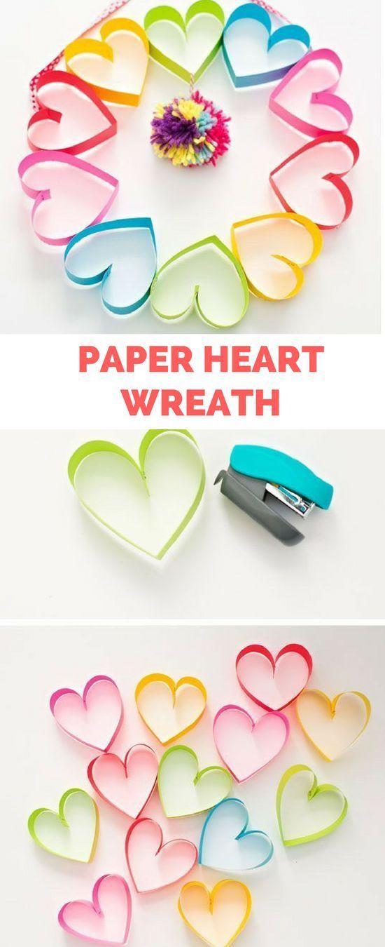 paper wreath heart valentine craft