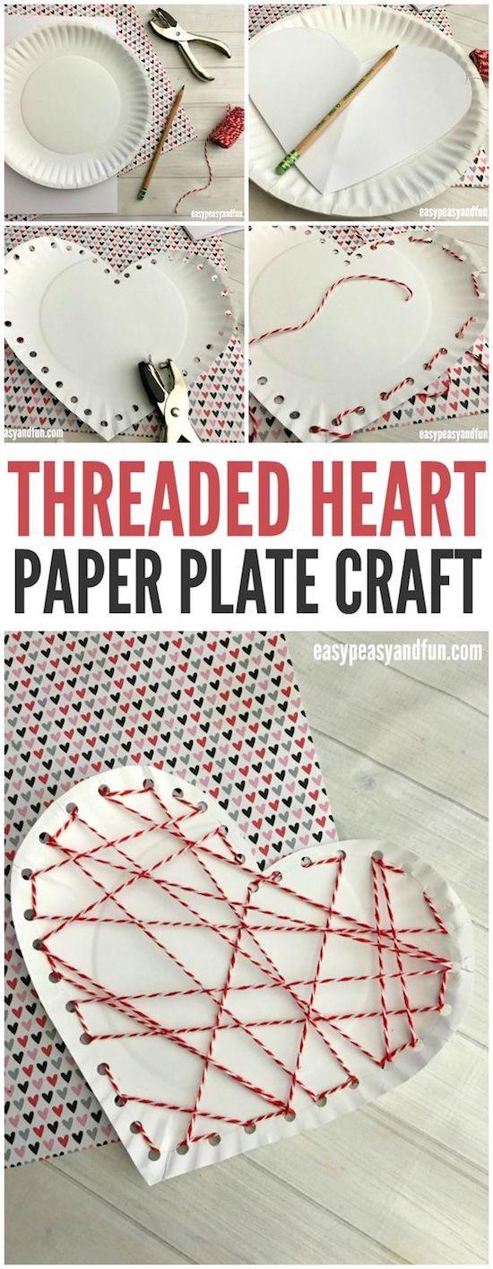 thread heart valentine craft