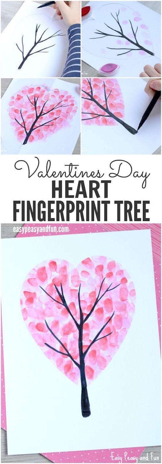 valentine heart fingerprint craft